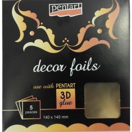 PENTART-FOLIA 3D ZŁOTO 14x14cm/5 ARKUSZY