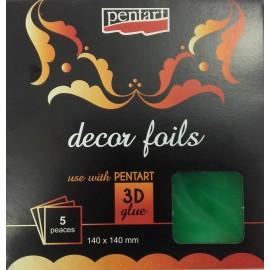 PENTART FOLIA 3D ZIELEŃ 14x14cm/5 ARKUSZY