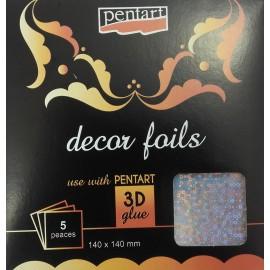 PENTART-FOLIA 3D HOLOGRAFICZNA SZAMPAN 14x14cm/5 ARKUSZY