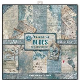 STAMPERIA-BLOK PAPIERÓW SCRAP. 30x30cm JEANSOWY BLUES 10szt