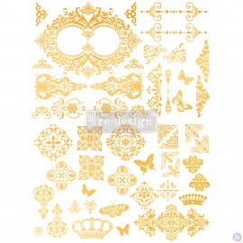 "PRIMA-DECOR TRANSFERS 17x23"" GILDED BAROQUE SCROLL (ZŁOTY)"