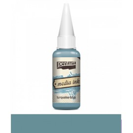 PENTART-TUSZ MEDIA INK 20 ml TURKUS NIEBIESKI