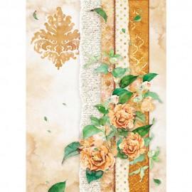 STAMPERIA PAPIER RYŻOWY A4 FLOWERS FOR YOU-KWIATY OCHRA
