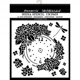 STAMPERIA SZABLON 3D 18x18 cm HORTENSJA TARCZA ZEGAROWA