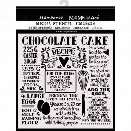 STAMPERIA SZABLON 3D 18x18 cm SWEETY NAPISY CHOCOLATE CAKE