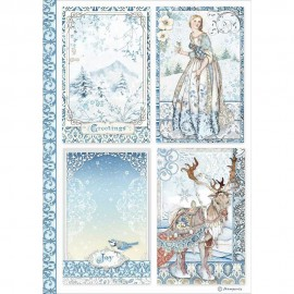 STAMPERIA PAPIER RYŻOWY A4 WINTER TALES 4 KARTY
