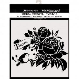 STAMPERIA SZABLON 3D 18x18 cm CHRITMAS RÓŻE FOR YOU