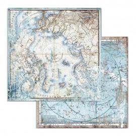 "STAMPERIA PAPIER DO SCRAP 12"" ARCTIC MAPY MORSKIE"