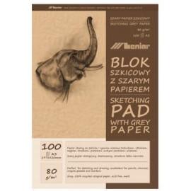 BLOK SZKICOWY A3 szary papier 100k 90854