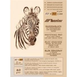 BLOK SZKICOWY ZEBRA A5 50+50k jasno-szary papier 90880