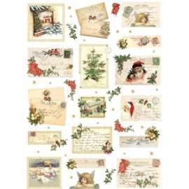 DECOMANIA PAPIER RYŻOWY 35x50 KARTKI ŚWIĄTECZNE